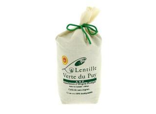 Lentilles vertes du Puy AOP présenté dans un sac en toile